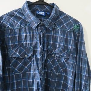 Vans Blue Plaid Button Up Shirt